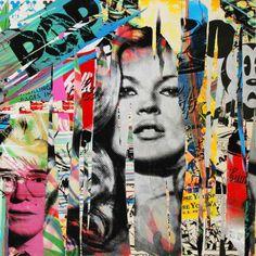 MR BRAINWASH Kate Moss, Andy Warhol, Mickey collage  #collage #katemoss #andywarhol #mickey