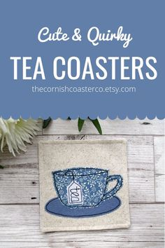 Shop for more fun & quirky fabric coasters with The Cornish Coaster Co on Etsy! Fun gift ideas for tea lovers! Quirky Gifts, Unique Gifts, Etsy Handmade, Handmade Gifts, Tea Coaster, Fabric Coasters, Tea Gifts, Coordinating Fabrics, Decorating Coffee Tables
