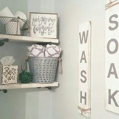 Bathroom decor. Farmhouse style. Handmade signs.