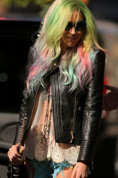 kesha's hippie fun colored hair!