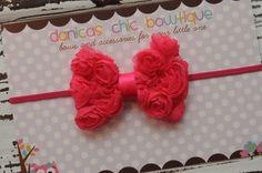 Petite Dark Pink bow headband newborn by DanicasChicBowtique, $7.00
