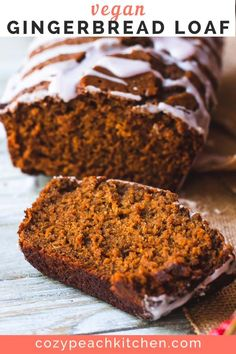 This moist vegan gingerbread loaf is flavored with molasses, ginger, and warming spices. Drizzle with an easy cranberry glaze for extra winter flavor! Vegan Baking Recipes, Delicious Vegan Recipes, Dairy Free Recipes, Gluten Free, Vegetarian Desserts, Vegan Sweets, Vegan Bread, Vegan Cake, Vegan Foods
