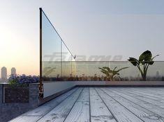 Guarda corpo em alumínio e vidro NINFA 170 by FARAONE design Nino Faraone, Matteo Paolini