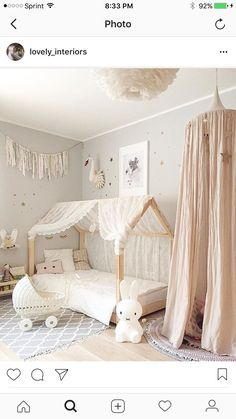 Baby Nursery Ideas and Decor Baby Kinderzimmer und Kinderzimmer Ideen und Dekor The A Baby Bedroom, Bedroom Decor, Wall Decor, Kids Bedroom Girls, Nursery Decor, Girls Room Design, Nursery Curtains, Rustic Nursery, Girl Kids Room