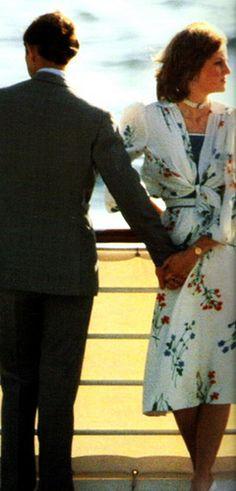 Prince Charles and Princess Diana on their honeymoon
