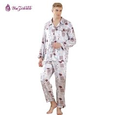 High Quality Plus Size 2018 Men Casual Breathable Silk Tops And Pants Sets Lounge Homewear Sleepwear Set Mens Pajama Sets S1517 Men's Pajama Sets Underwear & Sleepwears