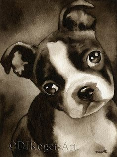 BOXER PUPPY Dog Watercolor Signed Fine Art Print by k9artgallery