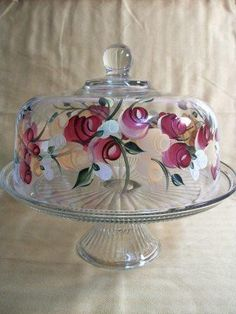 Cake Dish with roses by Morningglories1 on Etsy, $50.00
