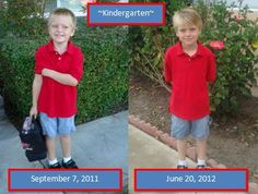 Take a picture of your schooler in the same outfit on the first and last day of school! Amazing how they change!