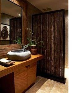 ... Modern Yet Natura Bamboo Divider In The Tropical Bathroom With Wooden  Vanity Wooden Countertop And Stone Sink ~ SFXit Design SFXIT Ideas  Inspiration