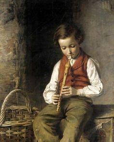 Boy With Flute-John William Haynes (XIX Century, English)