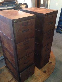 vintage pair 4 drawer wood file cabinets