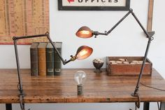 Pair of Vintage Industrial Ajusco Factory/ Machine Age Desk Lamps/ Lights - 1930s