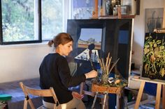 Sasha Pasternak at her studio in Moscow