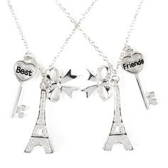BFF Best Friends Glitter Eiffel Tower, Bow and Key Pendant Necklaces