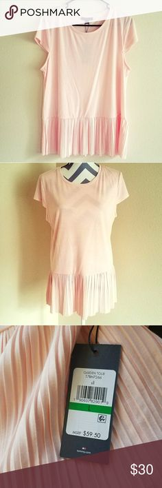 NWT Pastel Pink Pleated Top🌹🌸 ♡NWT! Baby pink soft fabric on top and pleated bottom (pic 1/2 show color in sunlight, pic 5 shows color in overcast) ♡Size large and loose fitting  ♡Bought for $60 @TH Outlet (pic 3) Feel free to ask any questions or send an offer using the offer button! ♡FREE GIFT W/PURCHASE😄 ✴Smoke-Free Home😀 Tommy Hilfiger Tops Blouses