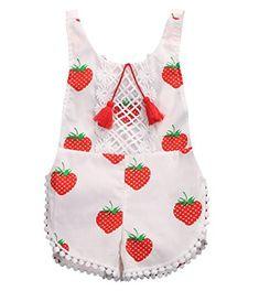 Newborn Baby Girls Sleeveless Tassels Strawberry Print Backless Bodysuit (2-3Y)