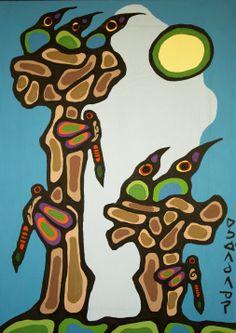 Art for sale from artist Norval Morrisseau - Thunderbirds. Woodland Art, Whimsical Art, Native American Artists, Canadian Artists, Amazing Artwork, Cool Artwork, Inuit Art, Indigenous Art, Geronimo