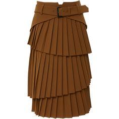 Pleated Knee Length Skirt | Moda Operandi ($1,255) ❤ liked on Polyvore featuring skirts