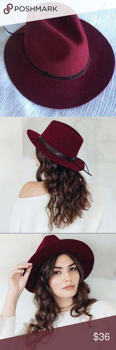 NWOT Summer & Rose felt hat New! Didn't come with tags but this hat is brand new. Beautiful burgundy felt hat with black trim. Rock it for a festival or for everyday with jeans. Summer & Rose Accessories Hats