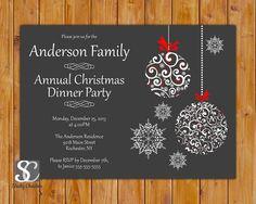 Christmas Dinner Celebration Annual Party Invitation Ornate Christmas Ornaments Invite Family  DIY Printable 5x7 JPG (85) on Etsy, $16.00