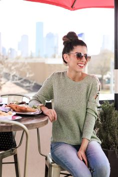 Mint Lace up Knit Sweater.  Mint Lace Up Knit Sweater. Spring Sweaters. Winter Sweaters. Transition into Spring. Brunch Outfit. Weekend Style. Casual Style. Hot Pink Loafers. Jean Leggings. Light Wash Jean Leggings. Express Jeans. New York and Company. Jean Leggings with Buttons.