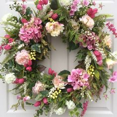 XL Spring Wreath-Valentine Wreath-Front Door by ReginasGarden Front Door Decor, Wreaths For Front Door, Door Wreaths, Wreath Crafts, Diy Wreath, Pink Hydrangea, Valentine Wreath, Valentines, Summer Wreath