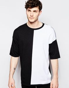 ASOS Oversized Knitted T-Shirt with Colour Block