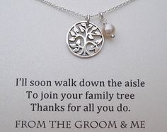 "Medium sized pendant with 20''chain = $40 With a customized quote:  ""Thank You for raising your son to be the man of my dreams. I am honored to become a part of your family. Love, Jennifer"")  Then Wedding Date  by WearableWhispers"