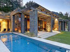 Modern Stone House, Kohara Lodge by Murray Cockburn Partnership - Home Design Inspiration My Pool, Pool Spa, Luxury Accommodation, Stone Houses, Exterior Design, Stone Exterior, Future House, Architecture Design, Classical Architecture