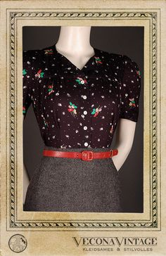 30s 40s blouse TECHNICOLOR black pattern print 1930 1940 swing art deco Vecona…
