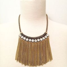 Rhinestone Fringe Statement Necklace by BellaHarperBoutique