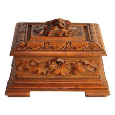 Lovely Black Forest hand carved box with flowers on top from Juliet Jones Vintage on Ruby Lane