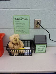 The tattling teddy, kids can either tell him or write down what happened and leave it in teddys bin to read later.  Eliminates countless tattling.