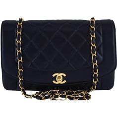 """Pre-Owned Chanel 10in Black Vintage Quilted Classic """"""""Diana"""""""" Shoulder... ($2,999) ❤ liked on Polyvore featuring bags, handbags, black, quilted chain purse, chain purse, chain handle handbags, quilted crossbody purse and chanel crossbody"""