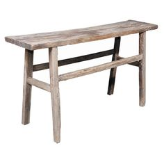 Sawhorse-style elm wood console table in washed natural.   Product: Console tableConstruction Material: Elm wood