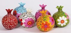 Paper mache pommegranates for a happy new year-Liatart.com