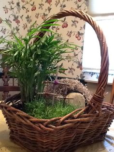 "Resurrection garden basket. I bought my basket, plastic liner and plants at our local garden center. I chose a palm plant and a low growing grass type. I used a black plastic 3"" pot laid it on its side and covered it with spanish moss for the tomb.  Placed a rock at the opening and extra small ones as a path. We picked sticks up in the yard and broke them to size and used colored thread to secure them together."