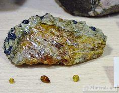Gem Willemite with Polished Gems, from Franklin, NJ