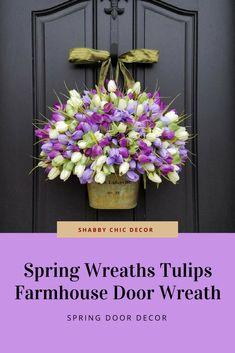 Etsy Spring Wreaths Tulips Farmhouse Door Wreaths Tulips Mother's Day Wreath Easter Wreaths Easter Tulips #wreath #tulips #easterwreath #easterdecor #easter #affiliatelink