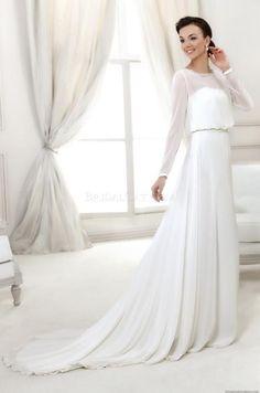 Wholesale Beach Wedding Dresses - Buy Chiffon Beach Wedding Dresses 2014 Vintage Long Sleeves Simple Beaded Sequins Court Train Greek Stylish Bridal Destination Summer Casual Hot, $169.99 | DHgate