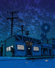 Illustrator Imagines Creepy Locales from The Simpsons at Night (2/7) - Moe's Bar