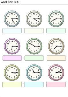 Actividades para niños preescolar, primaria e inicial. Plantillas con relojes analogicos para aprender la hora diciendo que hora es. Que hora es. 28