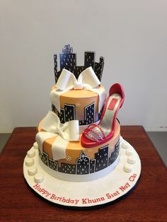 City Skyline with High Heel Birthday Cake and Bows