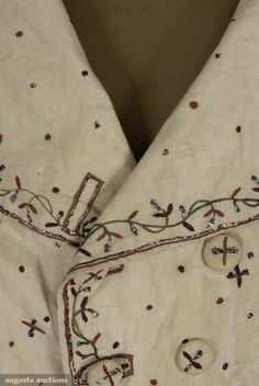 Augusta Auctions waistcoat detail: silver, red and green embroidery
