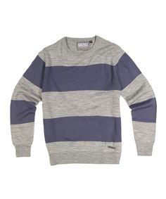 Gray & Navy Stripe Sweater - Men's Regular