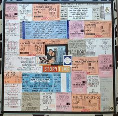My Analog Life: Scrapbook Basics- Movie ticket and Broadway show stub page<br> Couple Scrapbook, Scrapbook Journal, Travel Scrapbook, Diy Scrapbook, Scrapbooking Layouts, Scrapbook Pages, Scrapbook Ideas For Couples, Friend Scrapbook, Scrapbook Supplies