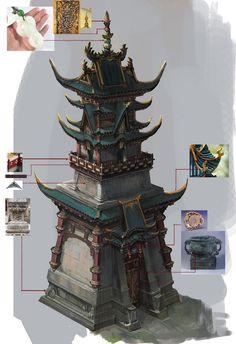 Asian Architecture, Concept Architecture, Architecture Details, Building Architecture, Building Concept, Building Art, Environment Concept Art, Environment Design, Buildings Artwork