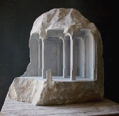 Historic Architectural Structures Intricately Carved Into Blocks of Marble by Matthew Simmonds