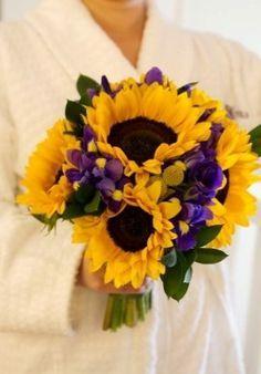 sunflower and purple iris bouquet - Google Search